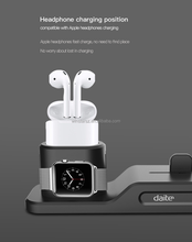 Daite#TS060 waterproof 3in1 Silicone desktop dock charging base for Airpod/iPhone/iWatches
