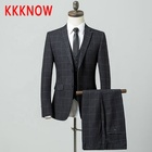 KKKNOW new autumn plaid Korean version slim groom's dress wedding suit three-piece men's suit suit