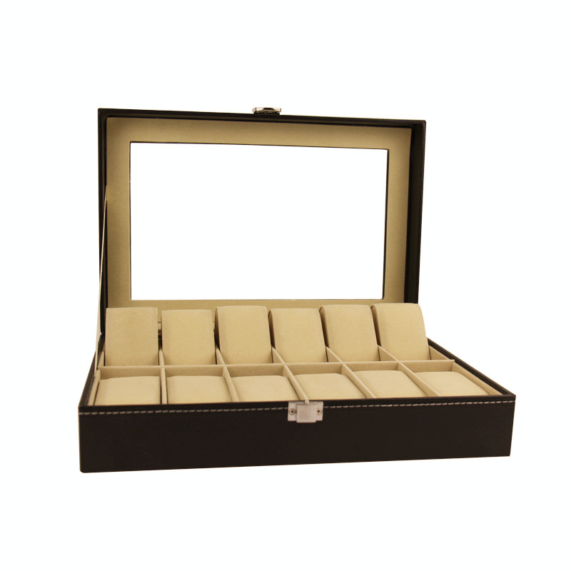 Custom logo 6 12 24 luxury pu leather gift packaging watch storage display box black single watch case band strap box