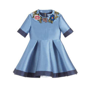 2018 latest fashion flower patches round neck satin dress for girl
