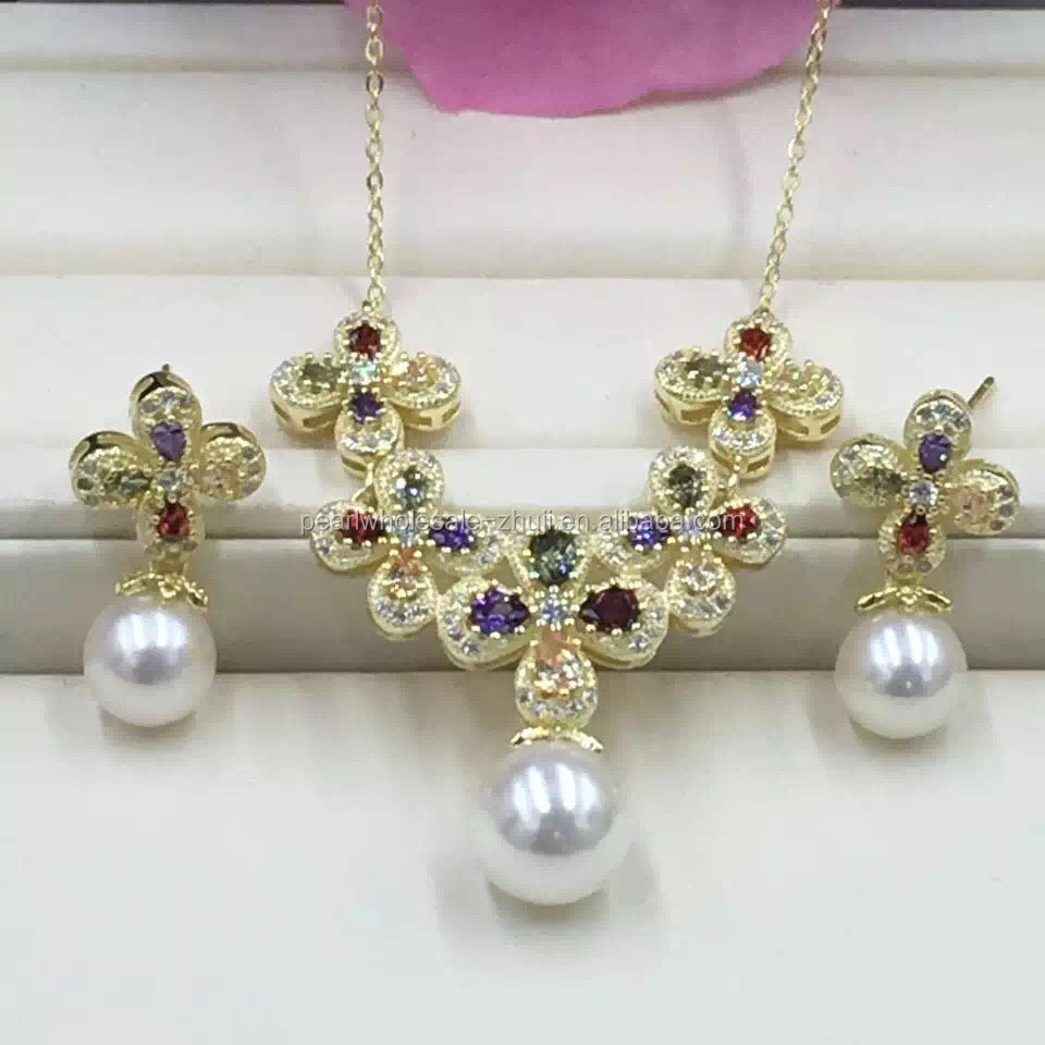 Wholesale Pearl Jewelry Set,Sterling Silver Fittings