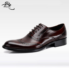 Perfect workmanship dark red genuine cow leather China wholesale new fashion men dress shoes