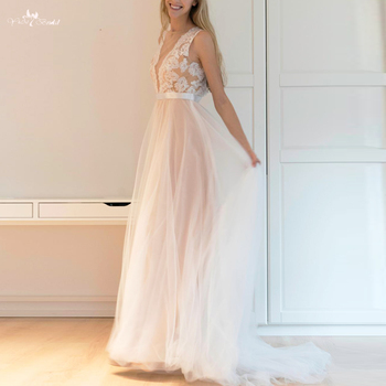 RSW1257 Illusion Back Neckline Cheap Simple Skirt Tulle Casual Beach Wedding Dress