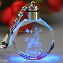 Wholesale customized logo glass souvenir keychain with led light