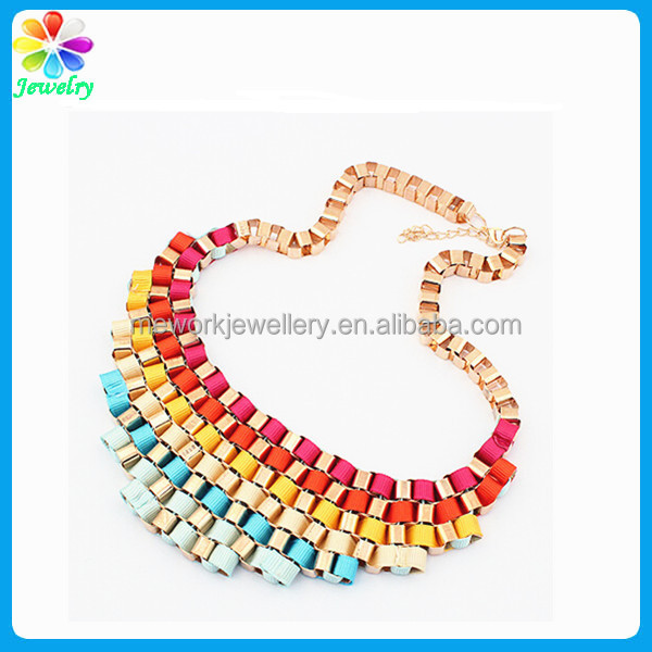Handmade crystal bead necklace for Women gold bead crochet necklace wholesale jewelry accessory China