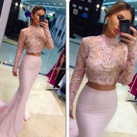 Charming Long Sleeves Two Piece Vintage Lace Prom Dress Custom Made Mermaid High Neck Dress For Evening Party