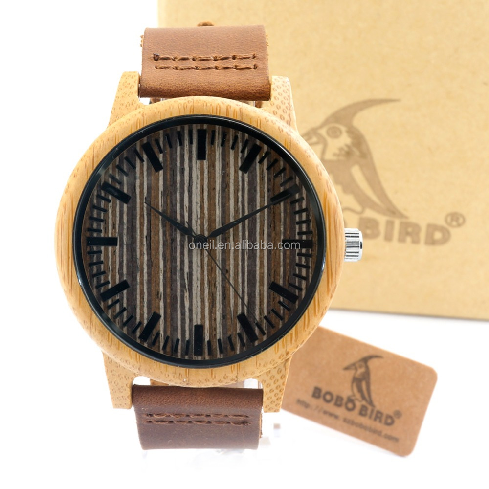 Fashion Accessories Women Men Stainless Steel Watch Bamboo Wristwatches
