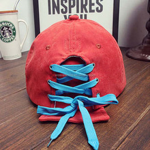 Suede Falt Bill Cap Shoe Lace Closure Hat Rope Backclsoure Cap