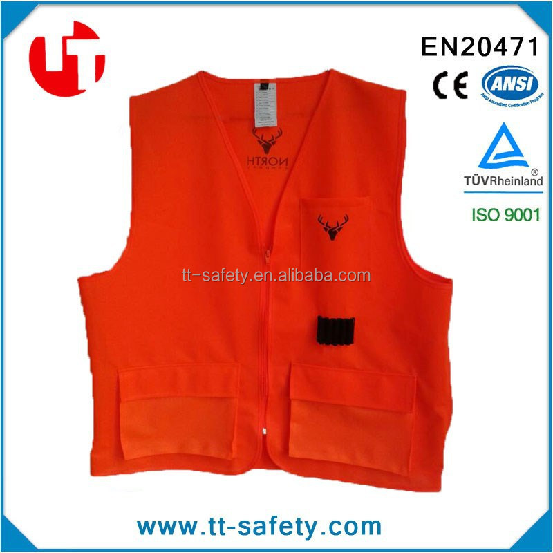 high visibility safety orange hunting vest with multi pockets