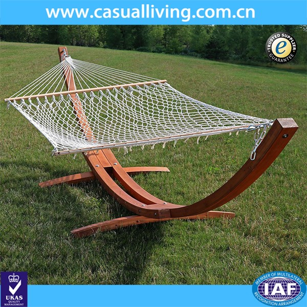 Outdoor Cotton Rope Hammock with Double Wood Arc Stand Set