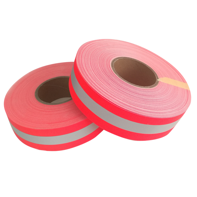 Heat Transfer Red Silver Sew On Reflective Tape