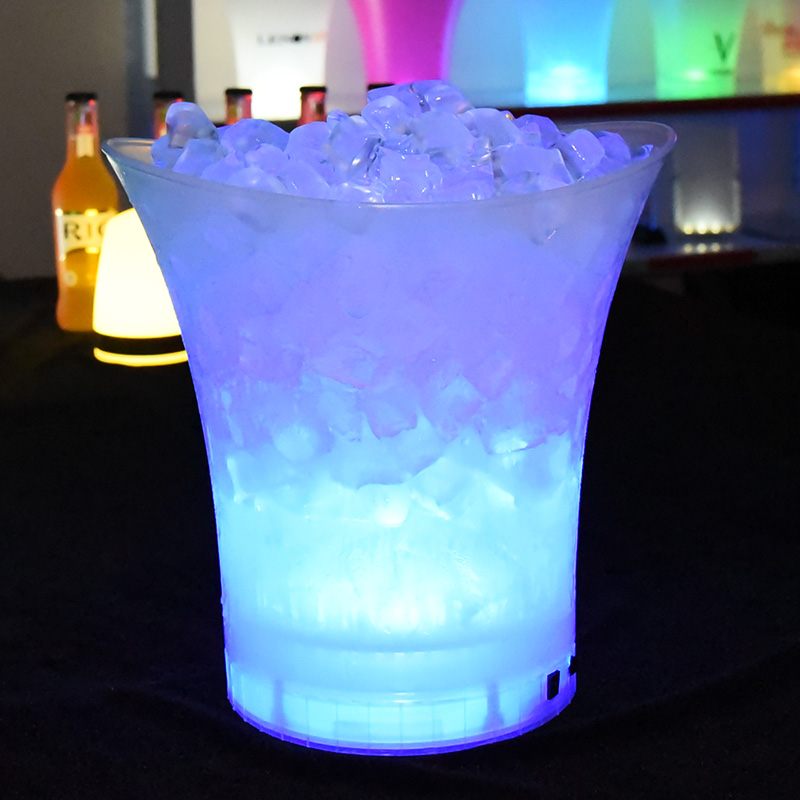 Comfort beverage plastic pp led ice buckets rechargeable with stand