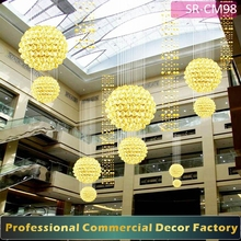 Customize Shopping mall ceiling decoration with lightedball for Christmas day