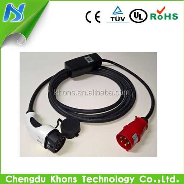 khons type2 32a red cee electric car home chargers 230v