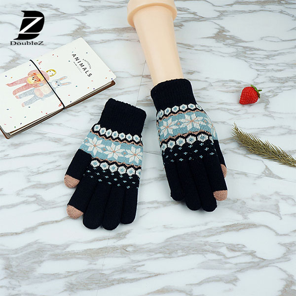 touch sensitive gloves for cell phone use ladies' snowflake knitted gloves
