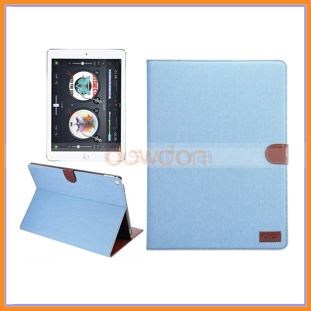 "for Apple iPad Pro 12.9"" Fashion Jean Canvas Stand Case for Apple iPad Pro,With Card Slot Stand Leather Cover"