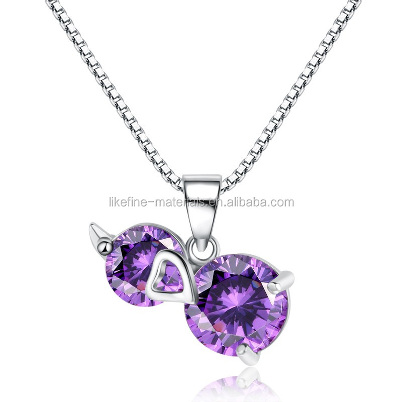 925 sterling silver amethyst fashion gourd necklace pendants