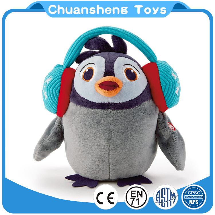 CHStoy north pole music penguin soft plush toy with headset
