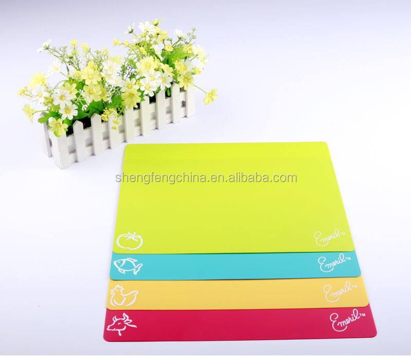 4* Flexible Colour Coded Chopping Mats Slicing Cutting Boards Plastic Kitchen