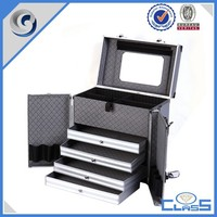 MLDGJ801Silver Drawers High Qaulity Aluminum Hard Makeup Tool Case for Cosmetics