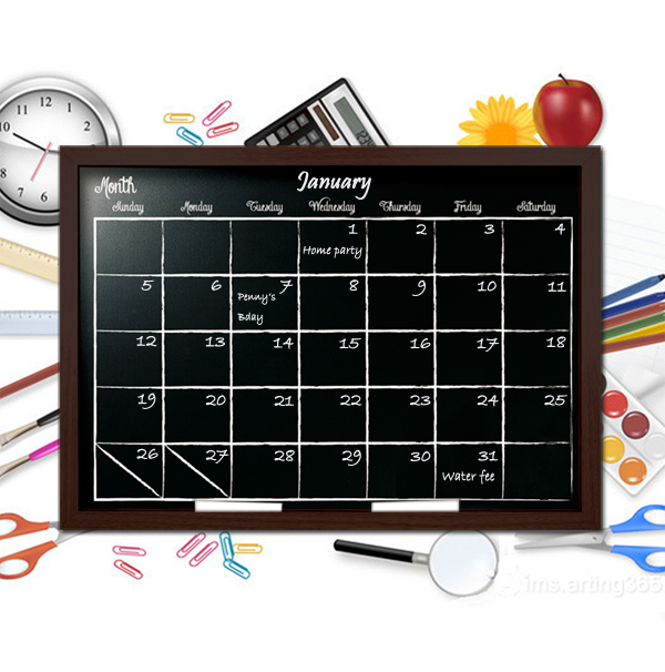 New Fashion ! mini wooden chalkboard with calendar printing