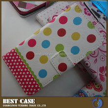 colorful dot design leather flip case for huawei ascend y320
