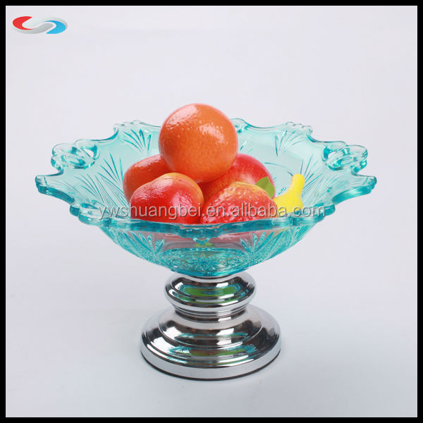 Elegant dry fruit tray Glass Plate with metal Base for tableware decoration