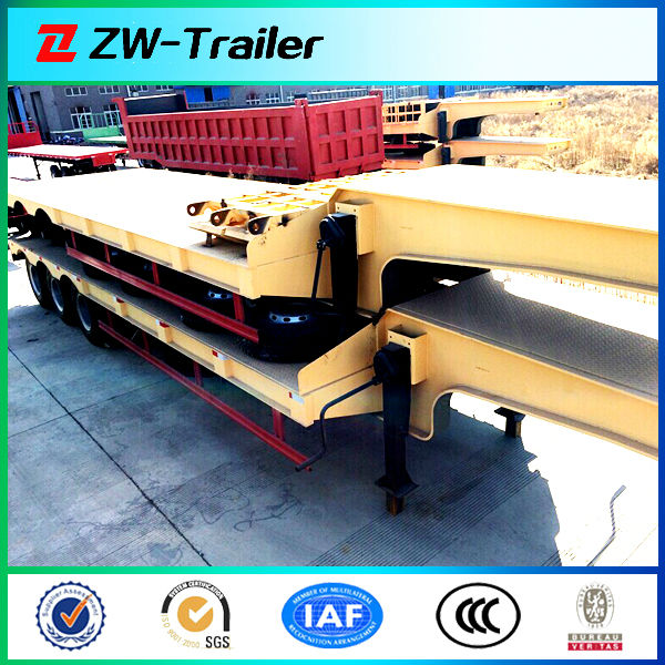 Tri-axle Low Flat Bed Semi Trailer for Heavy Equipment transportation trade in adana