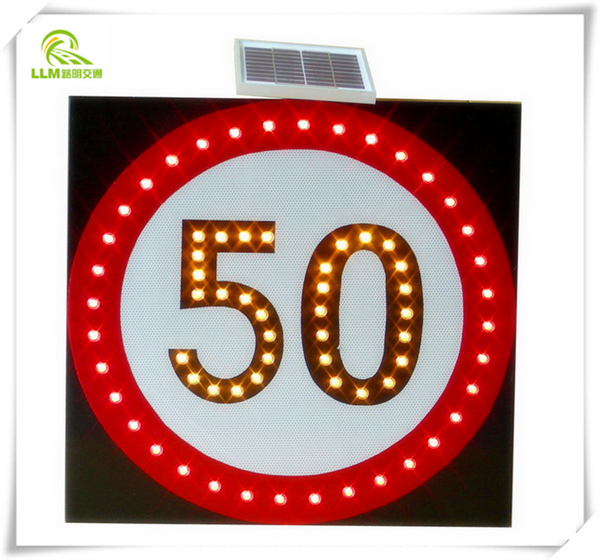 portable road safety warning signage Li battery reflective LED speed limit solar traffic warning sign