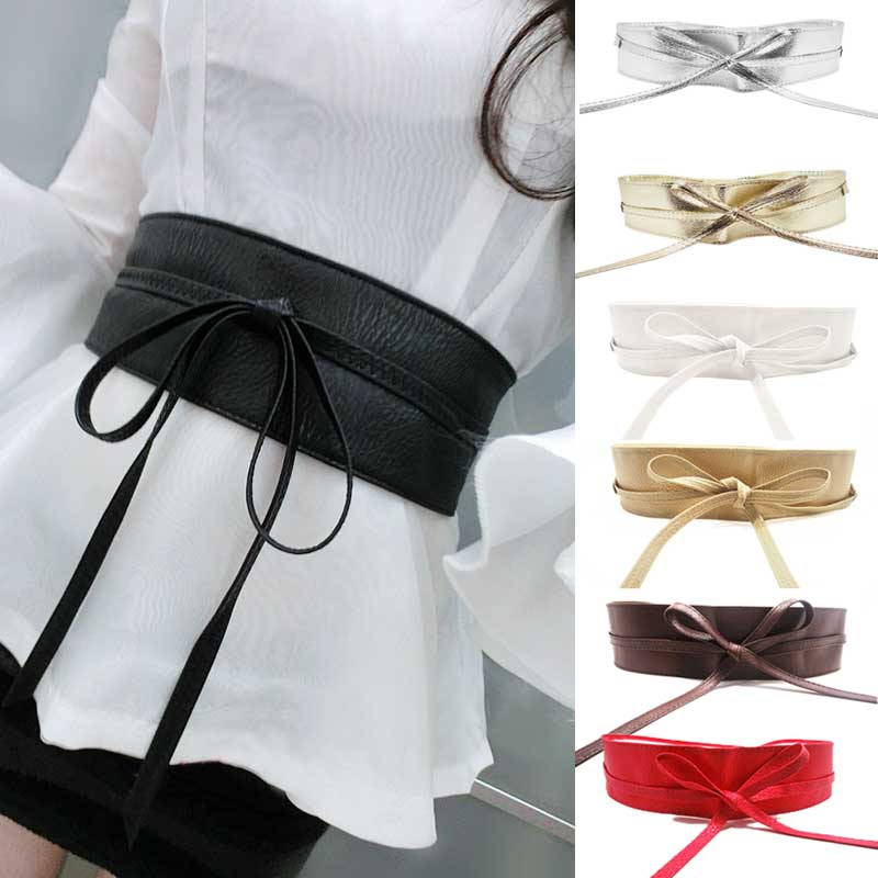 MOON BUNNY New Fashion Women belt Soft Leather Wide Self Tie Wrap Around Waist Band Dress Belt Y1 Wholesale Moq1set