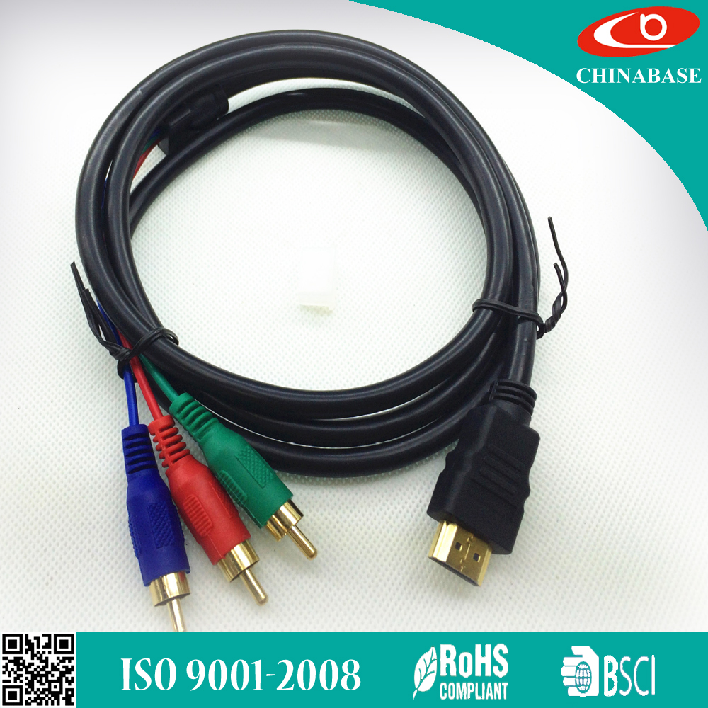 5 Feet Gold Plated HDMI to VGA 3 RCA Cable for Satellite TV, for RGB Component Video, for LCD Projector