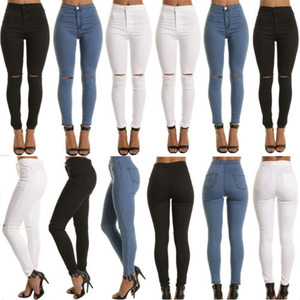 Top Design Women High Waisted Skinny Cut Out Jeans Slim Ripped Knee Stretch Skinny Leggings