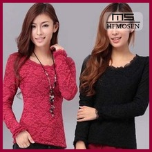 N2044 Spring Autumn Korean New Ladies Tops Sexy Lace Woman T-shirts