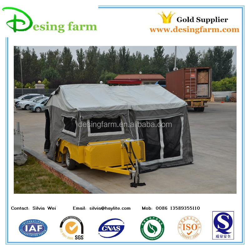 Folding camper trailer with camping tent for sale