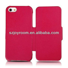 New leather folding wallet case for iphone 5 with Real leather