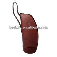 Fashion style leather wine holder wine bottle holder zippered wine holder