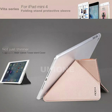 New Arrival Original ROCK VITA Series Flip Leather Case For iPad mini 4 Solid Fashion PU Flip Case
