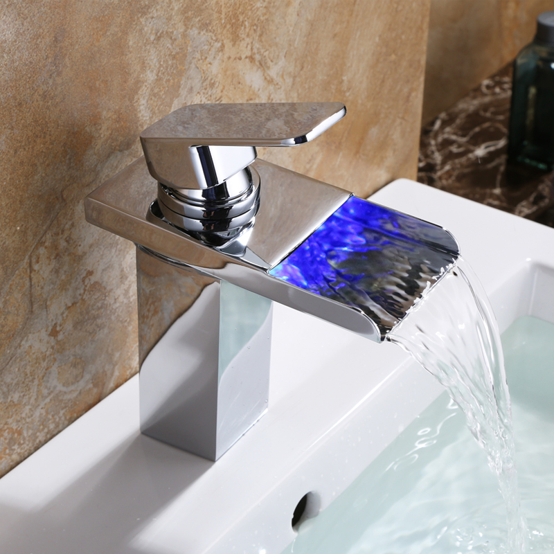 Bathroom Basin LED Light MIXER Faucet Water Single Tap waterfall Sink FaucetsChrome Polished Brass Square