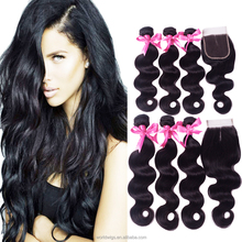 Peruvian hair human hair extension body wave virgin remy hair bundles with lace frontal closure