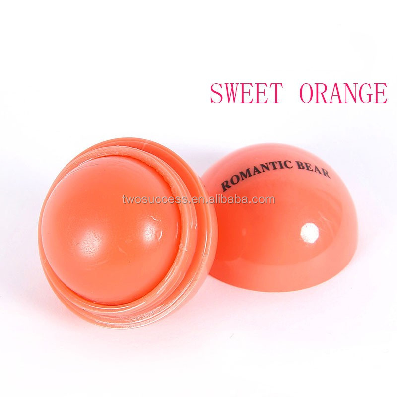 Wholesale Colorful Natural Ingredients Candy 6 Colors Ball Shape Moisturizing Lip Balm