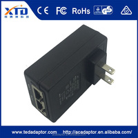 POE ac dc adapter 48V 0.5A dual port poe power supply 24v poe adapter