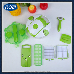 Vegetable Chopper Mandoline Vegetable Fruit DicerInterchangeable Blades Set with Food Container