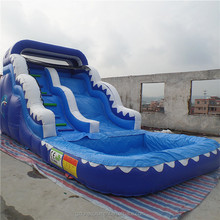 7.6*4m Popular inflatable bouncer with slide wave giant adult inflatable water pool slide for sale