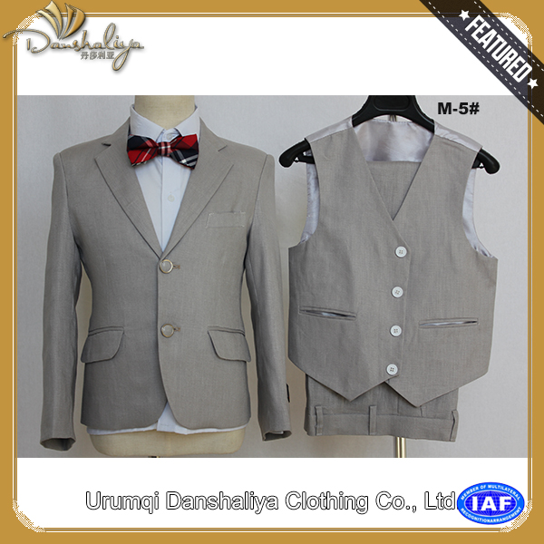 slim fit/ small collar/ grey 3 pieces baby boy suit
