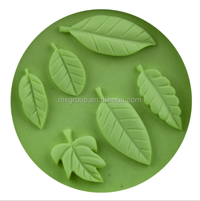 6 Cavity Silicone Cake Molds Decoration Random Color Leaves shape malaysia cake pop mould for microwave
