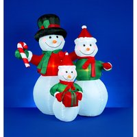 4 Foot Inflatable Snowmen Family Holding Gifts New Inflatable Snowman Family 1.2m Outdoor Christmas Decoration SALE
