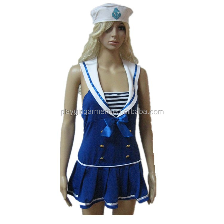 Hot sales navy blue long evening dresses sexy navy uniform for girls PLWC-0044