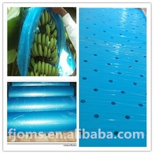 Blue banana bunch bags with perforations