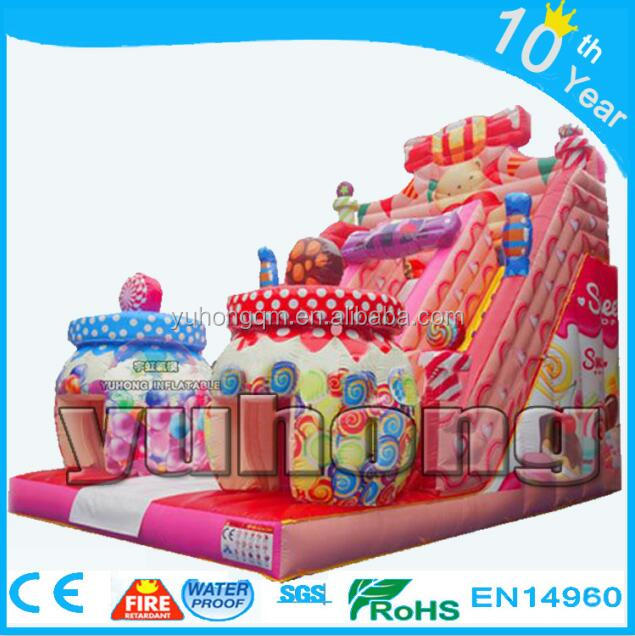 Colorful kids pink sweet candy house Hansel y Gretel inflatable castle slide