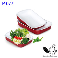 very useful 2014 hot selling 3 pcs ceramic square pan nonstick aluminum grill cookware set